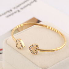 Michael Kors Gold Double Heart Crystal Logo Cuff Bracelet w/ Gift Box