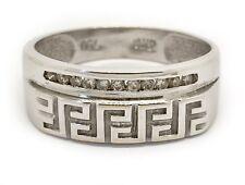 18k Solid White Gold Natural Diamond 7.5 MM Size 9.75 Greek key Mens Ring