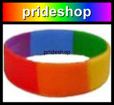 Lesbian And Gay Rainbow WIDE Silicone Wristband Pride Wrist Band #289
