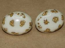Vintage 50s White & Gold Confetti Lucite Domed Oval Screw Back Earrings 1 X 3/4""