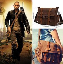 """Men's Military Canvas Leather Satchel School 14"""" Laptop Shoulder Messenger Bag T"""