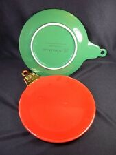 Dept 56 Christmas ornament plates x 2 gold handle red green hanging hole 7""