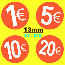 13mm Bright Red - Euro € Price Point Stickers - Sticky Labels - Swing Tag Labels