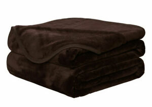 FAUX FUR CHOCOLATE BROWN THROW SOFA BED MINK WARM BLANKET - DOUBLE & KING SIZE