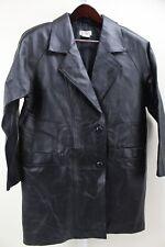 Tribeca Studio 100% Leather Black Lined 2 Button Long Jacket Size - Medium