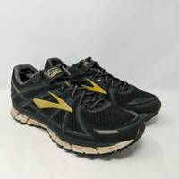 Brooks GTS 17 Mens Running Shoes Black Mesh Yellow Lace Up Low Top US 9.5