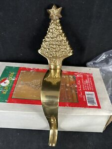Kurt Adler Sparkling Brass Christmas Stocking Holder Mantle Shelf R8