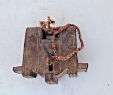 Antique Old Iron Unique Shape Solid padlock Rectangular lock & original key T2