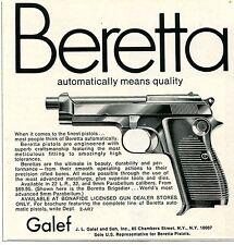 1969 small Print Ad of JL Galef Beretta Brigadier 9mm Parabellum Pistol