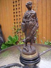 French Spelter Young Girl  Figurine/statue Retour de Peche par Rousseau c1900