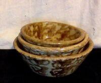 Antique Pottery. Set of 3 Small Graduated Spongeware Bowls.