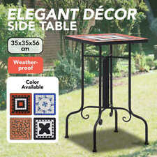 vidaXL Mosaic Side Table Ceramic Accent Balcony Poolside Table Multi Colours