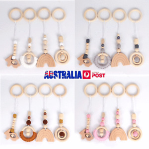 Rainbow Beech Pendant Crochet Wooden Ring Baby Teether Activity Gym Play Toy Set