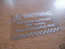 2x vehículo advertencia de alarma Calcomanías-Plata / Transparente - 75mm X 44mm