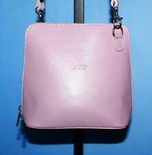 VERA PELLE MADE IN ITALY Pink Leather Mini Domed Cross-body Zip Purse Bag