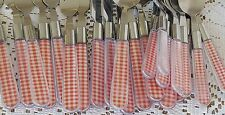 23 Pieces Red White Gingham Plaid Check Flatware Plastic Handles Stainless Tips