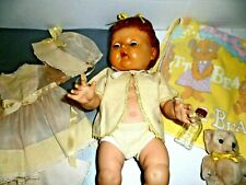 "Tiny Tears Doll Vtg 16"" Vinyl Ac hard head Rock A Bye rooted hair 1950'S Dress"