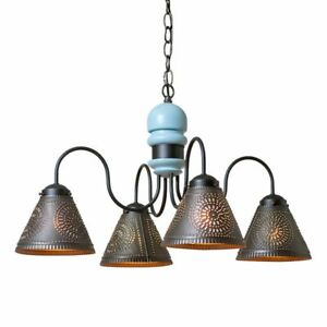 Beachy new 4-Arm Wood Chandelier with Tin Shades in Misty Blue