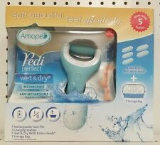 Amope Pedi Perfect Wet and Dry Rechargeable FootFile +5 Refill Roller Heads New