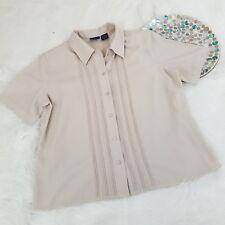 Laura Scott Womens Blouse Size 16 Beige Pintuck Short Sleeve Button Down Top 154