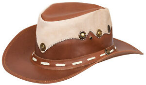 Australian Western Style Cowboy Outback Real Leather And Suede Aussie Bush Hat