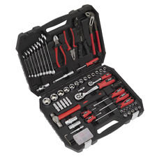 DIY Mechanic Sockets Ratchets Screwdrivers Hammer Pliers Tool Kit 100pc In Case