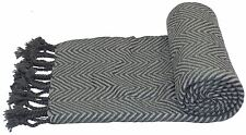 ZIG ZAG SILVER GREY KNITTED TASSELLED 140X180CM THROW BLANKET