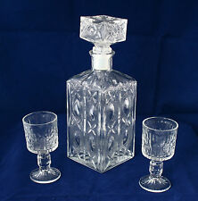 VINTAGE Midle 20`c Glass Bottle Carafe & 2 Cups for Whiskey Cognac Brandy Liquor