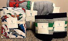 Pottery Barn Kids Justice League batman superman FULL quilt shams sheet set
