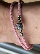 Pandora double pink leather bracelet 35cm long(small)
