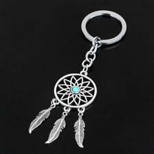 HOT Silver Metal Key Chain Ring Feather Tassels Dream Catcher Keyring Keychain