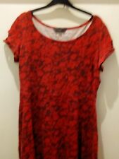Red & Black Floral Skater dress - Dorothy Perkins Sz 16