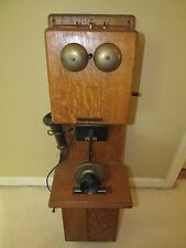 Antique Rare Stromberg Carlson Two Box Hand Crank Golden Oak Wall Phone Superb !