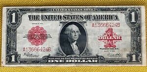 Rare RED SEAL 1923 $1 Dollar Bill United States Note Large Size Horse Blanket