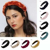 Wide Solid Color  Accessories Hair Hoop Velvet Braid Hair Hairband Headband