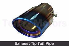 Chrome Extensión Oval Azul Quemado Punta de Escape Tubo De Escape Ø 30mm - 58mm/1510