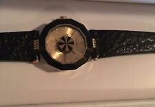 ROVEN DINO YELLOW BASE METAL SAPPHIRE CRYSTAL LEATHER QUARTZ WATCH LIV NEW