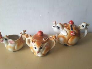 Vintage Pottery Tea Set TEAPOT SUGAR BOWL CREAMER DEER BAMBI Japan