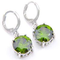 Cut Jewelry For Woman Natural Olive Peridot Gemstone Silver Dangle Hook Earrings