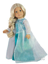 AFW FROZEN INSPIRED ELSA DRESS #265 TEAL SNOWFLAKE W/ ORGANZA CAPE Clothes NEW