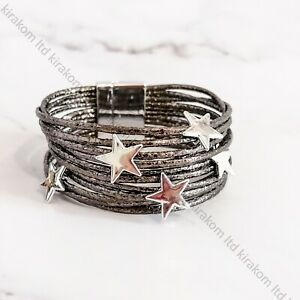 Multi Layer Boho Wide Bracelet with Stars Magnetic Clasp Star Wrap Bangle