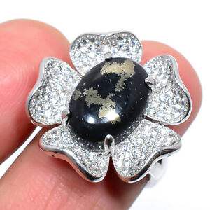 Magnetite In Pyrite & Cz Solid Gemstone 925 Sterling Silver Ring s.Ad M1557