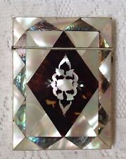 Antique C1800 Calling Card Case, Mother Of Pearl, Abalone & Tortoiseshell.