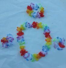 New Hawaiian Flower Lei Leis Headband Necklace Wrist Hula Party Fancy Dress