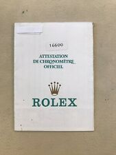 rolex warranty Paper Garanzia Rolex Originale Ref 16600