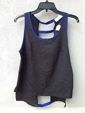 $55 NWT Vintage Havana Brand Solid Black With Blue Trim Sleeveless Blouse Size M