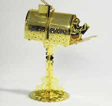 23K Gold Plated Mailbox Ornament Squirrel Danbury Mint Etched Lighted Noel RARE