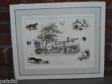 """Lithographie GODARD. Tableau """"INTERIEUR DU CHENIL"""" Signé . Chiens.Dogs."""