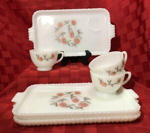 Vintage Mid Century Fire King Milk Glass Snack Tray and Cups set of 3 Fleurette