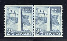US STAMP #1056 — 2.5c BUNKER HILL COIL LINE PAIR — XF — MINT - GRADED 90